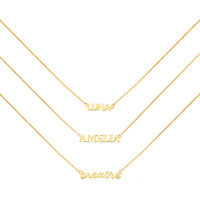 Gold Sterling Silver Nameplate Necklace With Curb Chain - Wanderlust + Co