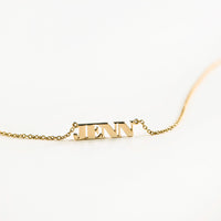 Solid Yellow Gold Nameplate Necklace With Standard Chain - Wanderlust + Co