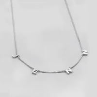 Sterling Silver Space Letter Necklace With Classic Box Chain