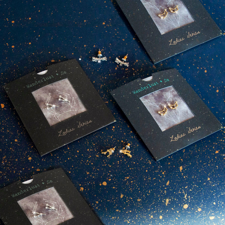 Pisces Zodiac Gold Earrings