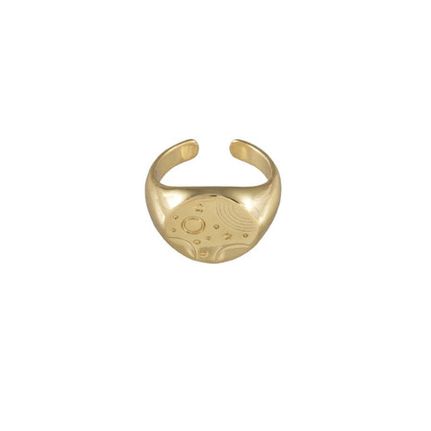 Orbit Signet Gold Ring