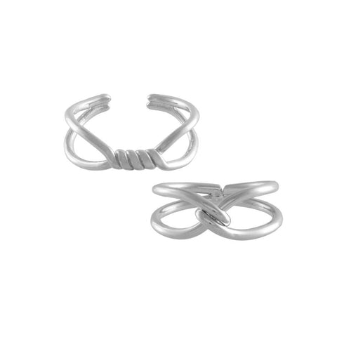 Can-You-Knot Silver Ring Set