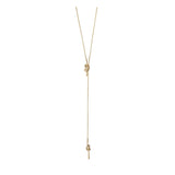 Forget-Me-Knot Gold Lariat Necklace