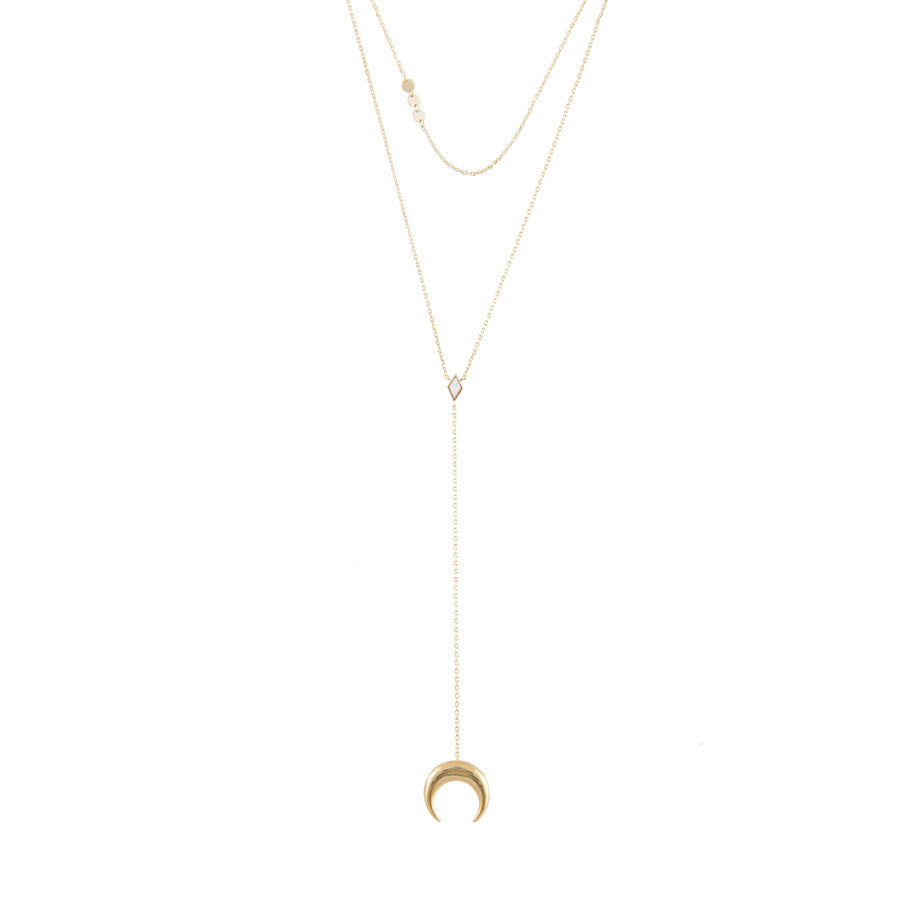 Crescent Diamante Gold Layered Necklaces