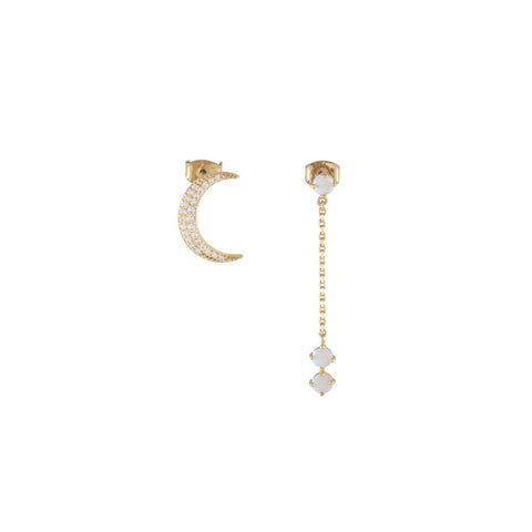 Crescent Gold & Opal Drop Earrings