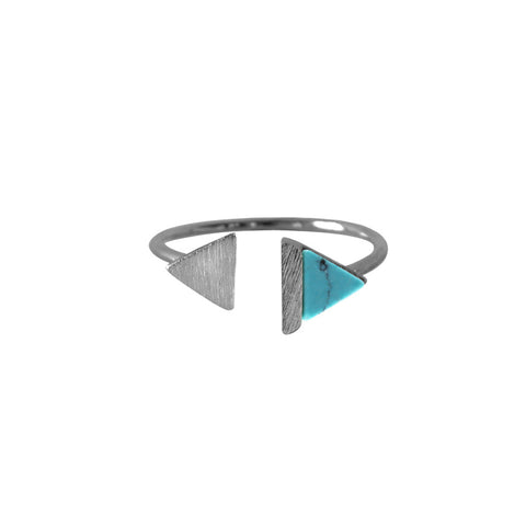 Double-Tri Split Silver & Turquoise Ring - Wanderlust + Co
