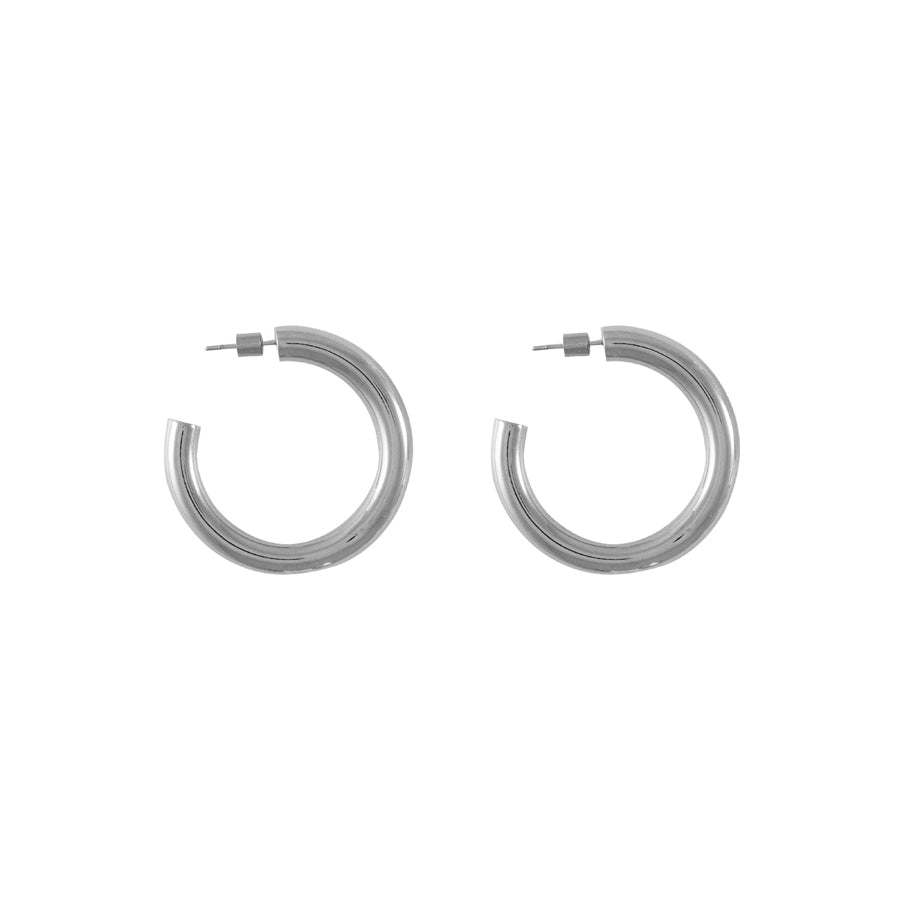 Faye Midi Silver Hoop Earrings