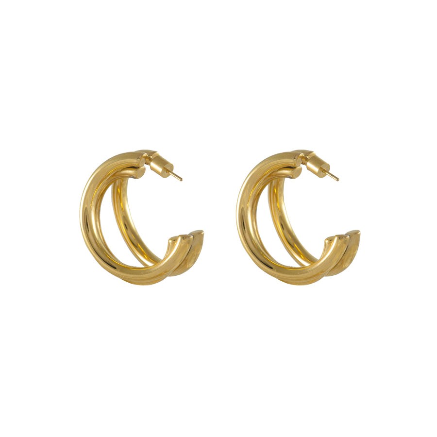 Faye Gold Tri-Hoop Earrings