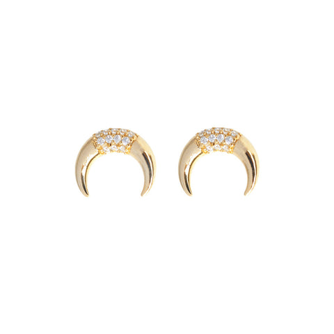 Luna Pave Gold Earrings