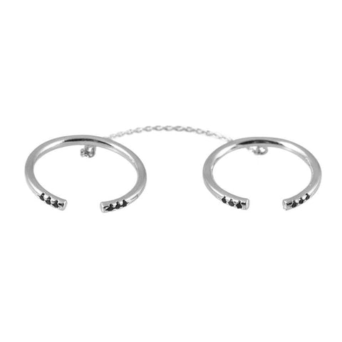 Nala Silver & Jet Chain Rings - Wanderlust + Co