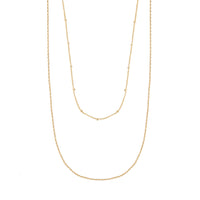 Beaded Layered Chain Gold Necklace - Wanderlust + Co
