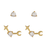April Birthstone Gold Earrings