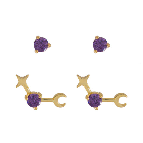 February Birthstone Gold Earrings
