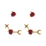January Birthstone Gold Earrings