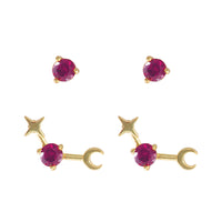 July Birthstone Gold Earrings