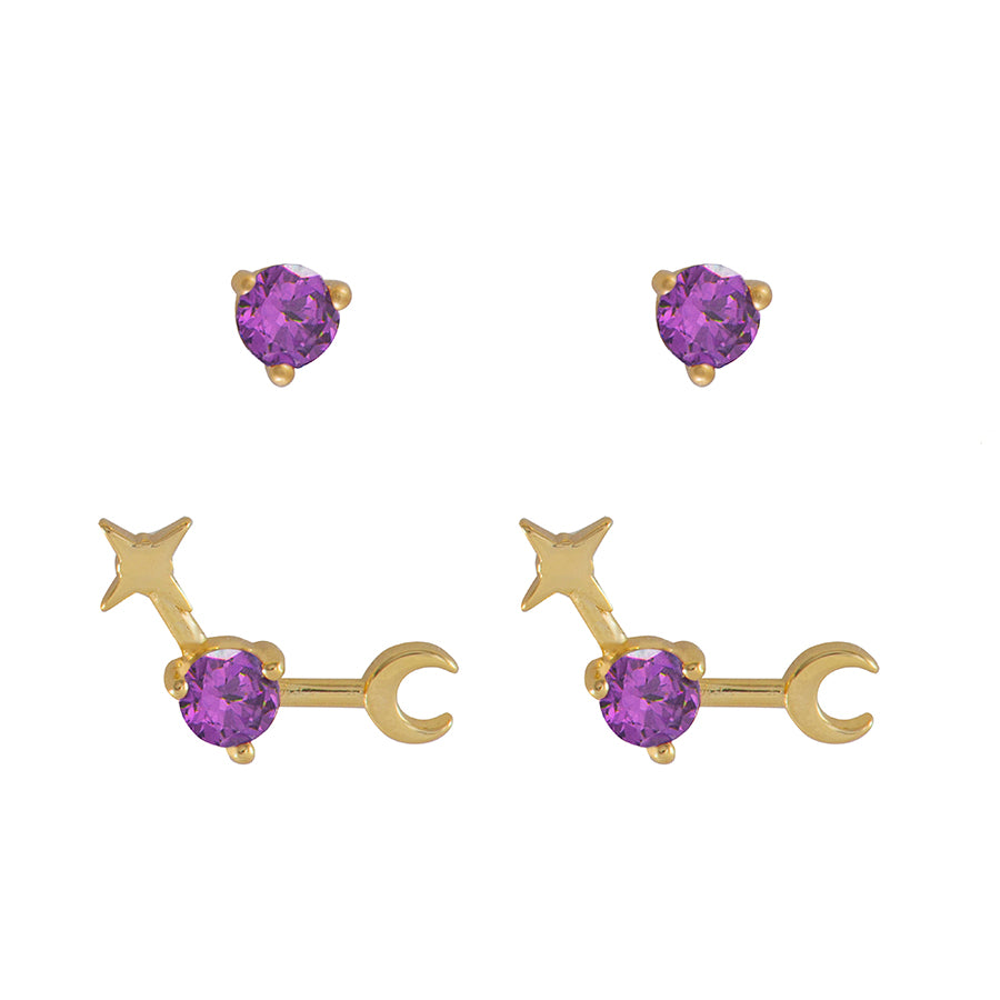 June Birthstone Gold Earrings