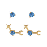 March Birthstone Gold Earrings