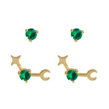May Birthstone Gold Earrings