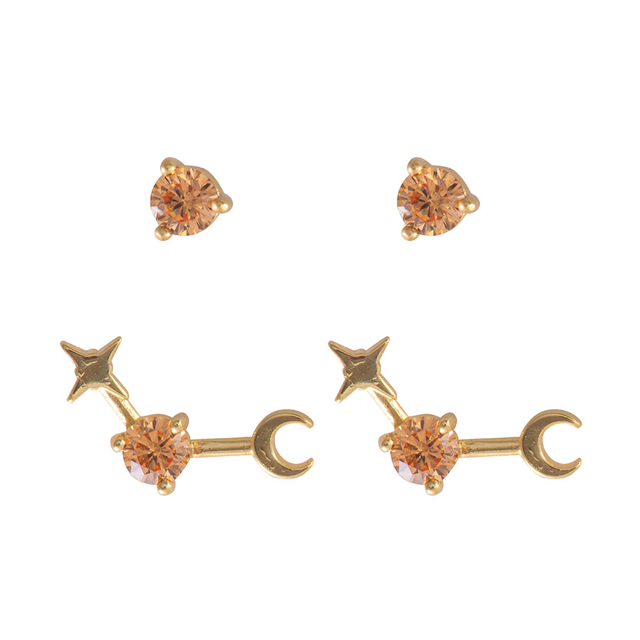 November Birthstone Gold Earrings