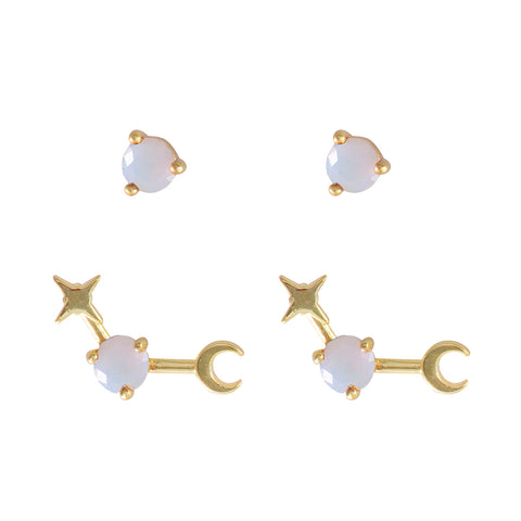 October Birthstone Gold Earrings