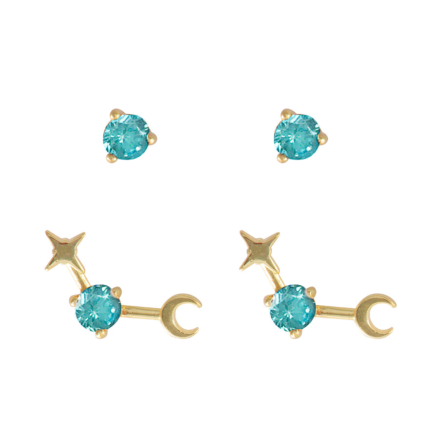 December Birthstone Gold Earrings
