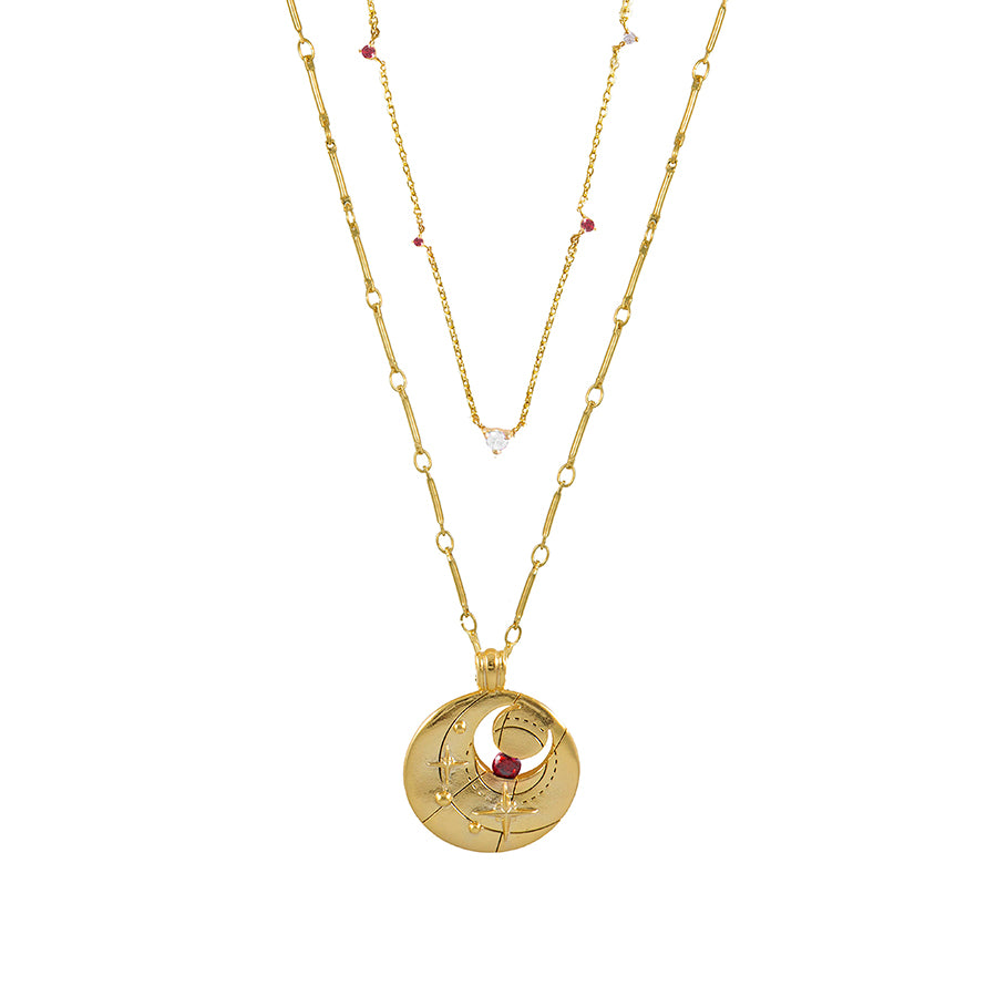 January Birthstone Gold Necklace