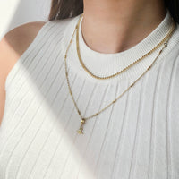 Beaded Bar Chain Gold Necklace