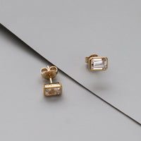 Topaz Baguette Gold Sterling Silver Earrings - Wanderlust + Co