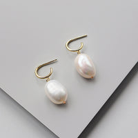 Baroque Pearl Gold Sterling Silver Huggie Earrings