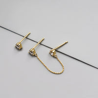 Moonbeam Gold Chain  Sterling Silver Earrings