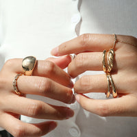 Double Dome Croissant Gold Sterling Silver Ring