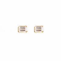 Topaz Baguette Gold Sterling Silver Earrings