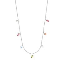 Aurora Silver Gem Necklace