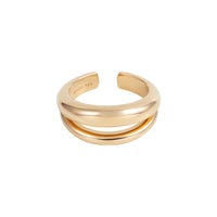 Double Dome Gold Sterling Silver Ring