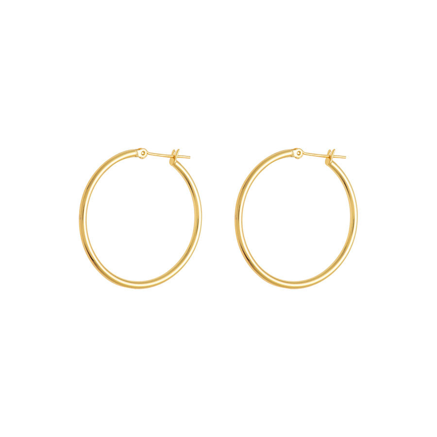 Midi Hoop Gold Earrings
