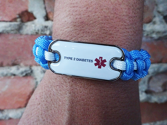 Diabetes Dog Tag Medical ID Paracord Bracelet