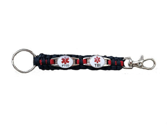 2-Charm Customizable Medical ID Paracord Key Chain