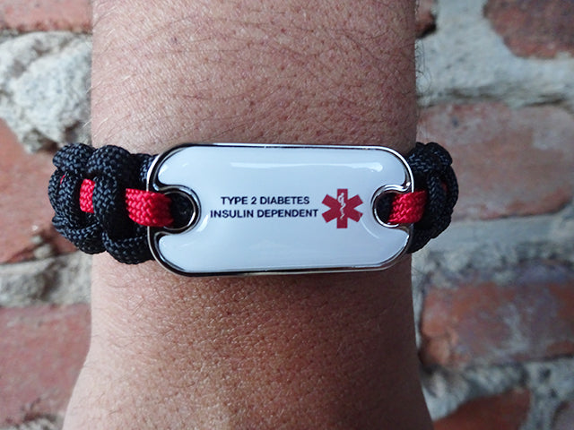 Customizable Dog Tag Medical ID Paracord Bracelet - Two Lines