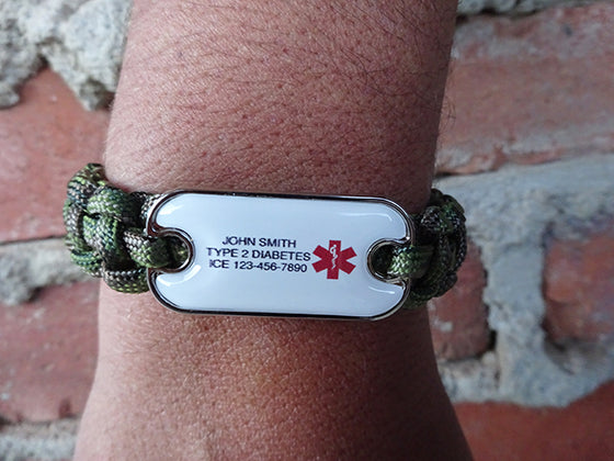 Customizable Dog Tag Medical ID Paracord Bracelet - Three Lines