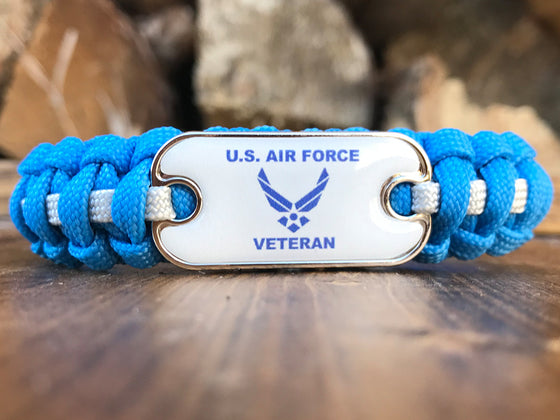 Air Force Veteran Dog Tag Paracord Bracelet