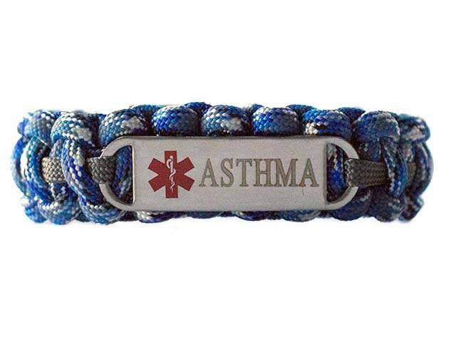 Engraved Stainless Steel Asthma Medical ID Paracord Bracelet