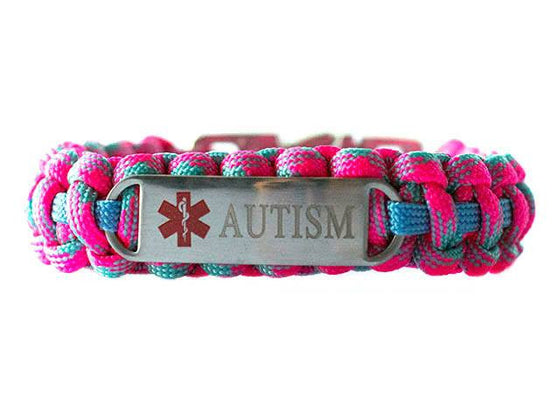 Engraved Stainless Steel Autism Medical ID Paracord Bracelet