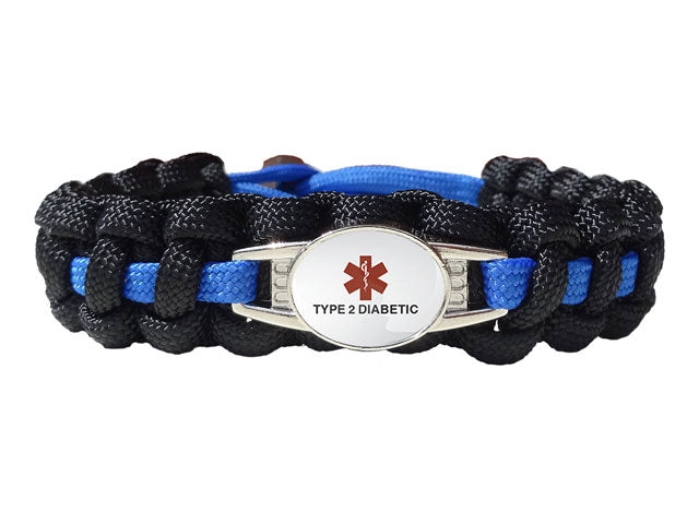 Medical ID Type 2 Diabetic Paracord Bracelet