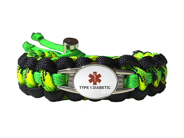 Medical ID Type 1 Diabetic Paracord Bracelet