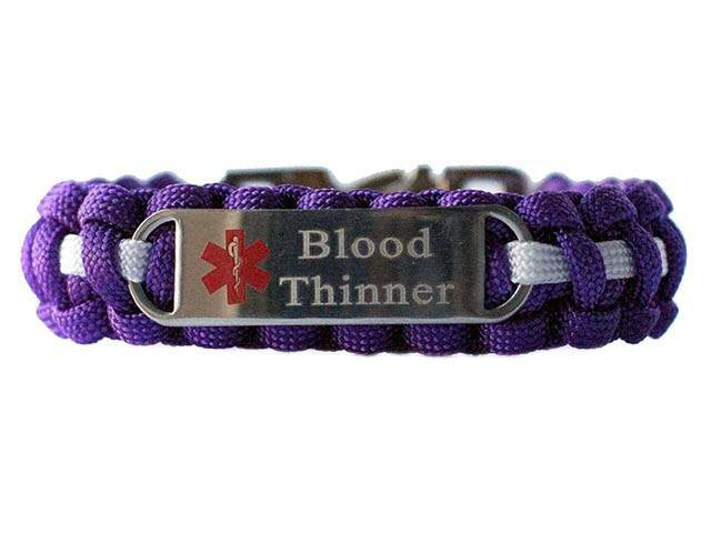 Engraved Stainless Steel Blood Thinner Medical ID Paracord Bracelet