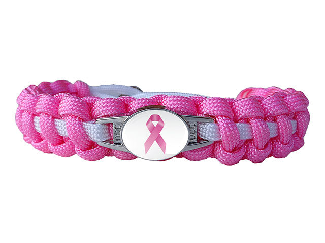 Awareness for Breast Cancer Paracord Bracelet (Charmed)