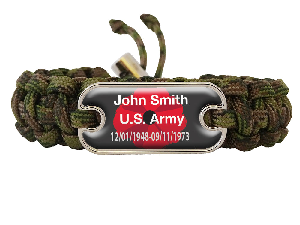 Memorial Dog Tag Paracord Bracelet