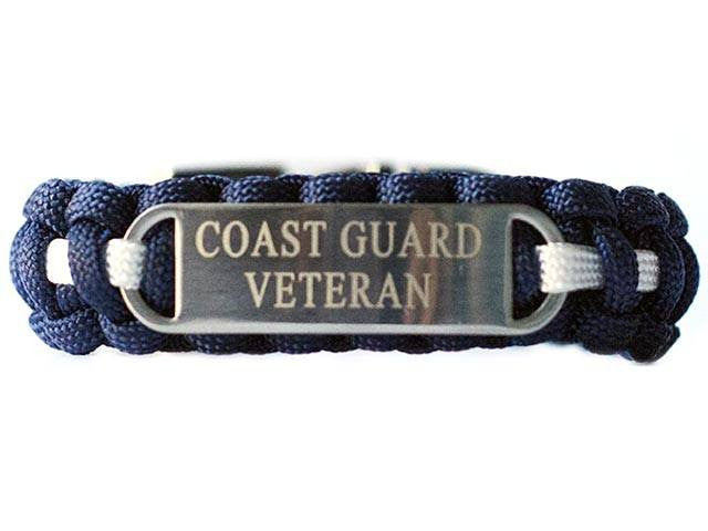 Engraved Stainless Steel Coast Guard Veteran Paracord Bracelet