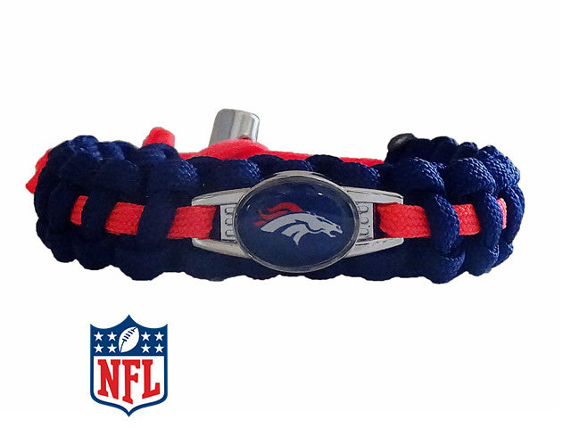 Handcrafted In USA ALL SIZES Denver Broncos Paracord Bracelet Low price!!