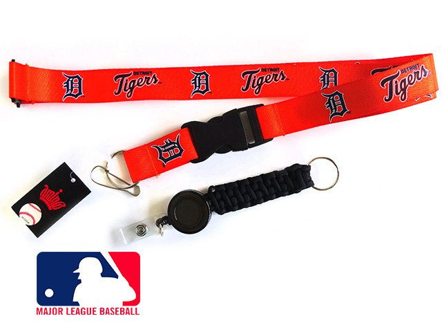 Officially Licensed MLB Detroit Tigers Lanyard with Paracord Badge Reel Attachment